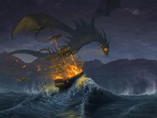 обои Дракон нападает на корабль во время шторма фото