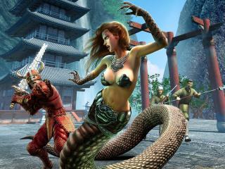 обои Сражение с девушкой-змеей фото