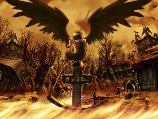обои Ангел Смерти на кресте фото