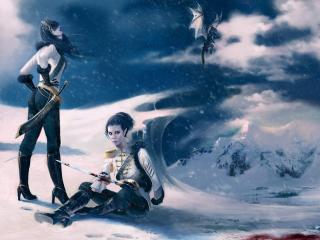 обои Бой с Драконом на снегу фото