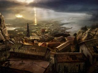 обои Borderlands город сверху фото