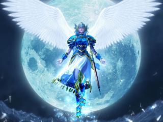 обои Воин с белыми крыльями при свете луны фото