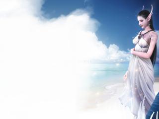 обои Девушка-эльф на небе фото