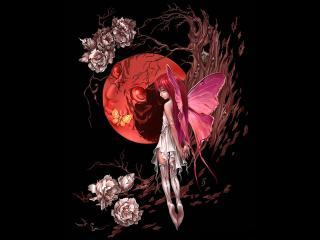 обои Девушка-эльф и красная луна фото