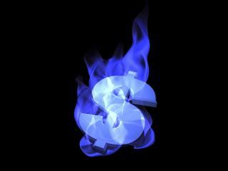 обои Знак доллара в синем пламени фото