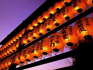 обои Японские фонари вечером фото