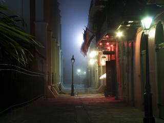 обои Ночные городские фонари фото
