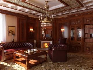 обои Уютная библиотека с камином и кожаной мебелью фото