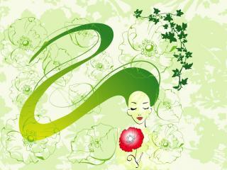 обои Зеленая девушка,змея фото
