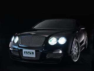 обои ASI Bentley Continental GTC 2008 перед боком черный фон фото