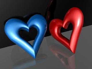 обои Синее и красное сердца фото