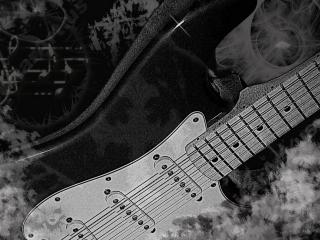обои Черно-белая гитара фото