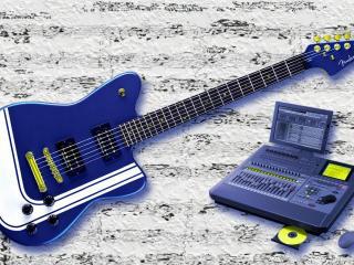 обои Синяя гитара с микшером фото