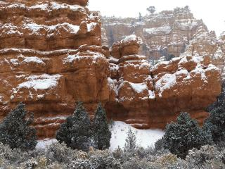 обои Скалы и ели - все под снегом фото