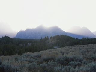 обои Лучи солнца затмевают вершины и оствещают деревья фото