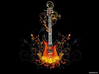обои Гитара в огне фото