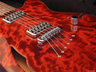 обои Гитара ярко красной расцветки фото