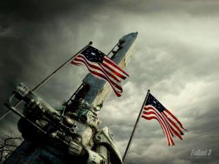 обои Fallout 3 - воин в экзоскелете на фоне флагов США фото
