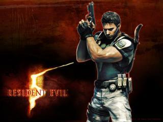 обои Resident Evil 5 - мужчина с пистолетом и кинжалом за спиной фото