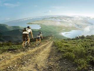 обои Велосипедисты едут по дороге фото