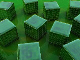 обои Зеленые кубики на зеленом фоне фото