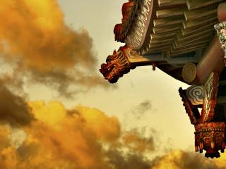 обои Огненное небо и уголок китайского дома фото