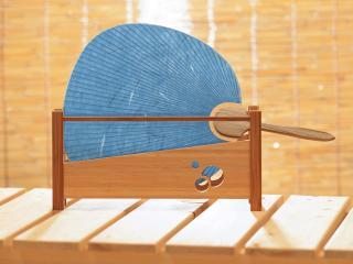 обои Синий веер в японском стиле фото