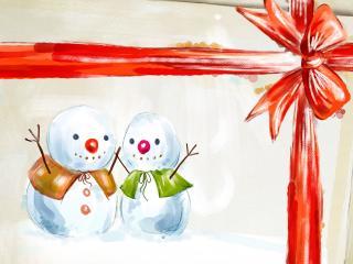 обои Снеговики на открытке фото