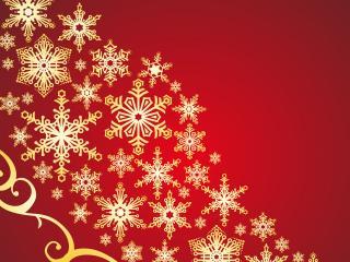 обои Снежинки на красном фоне фото