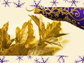 обои Открытка с золотым листочком и снежинками фото