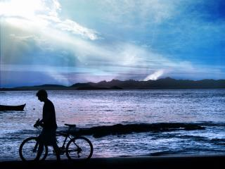 обои Одинокий велосипедист фото