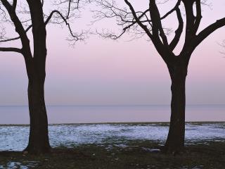 обои Закат и зимнее море фото