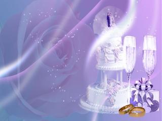 обои Свадебный торт и бокалы в фиолетовом цвете фото