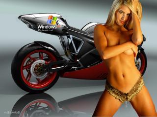 обои Девушка с мотоциклом от WinXP фото