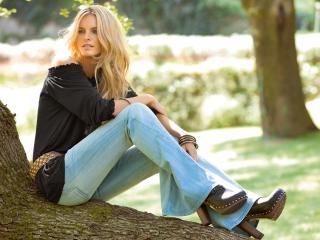 обои Сидя на стволе дерева фото