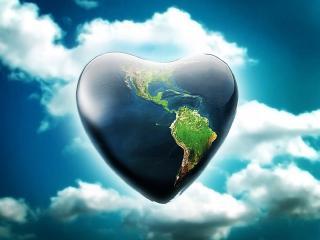 обои для рабочего стола: Сердечко в виде земли