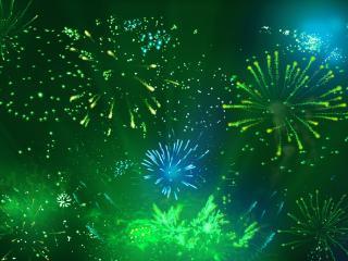 обои Много фейверков на зеленом фоне фото