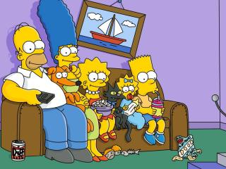 обои Симпсоны смотрят телевизор фото
