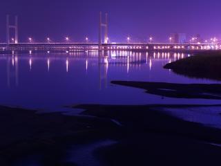обои Фиолетовый ночной мост фото