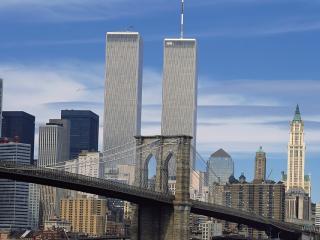 обои Мост на фоне двух небоскрёбов фото