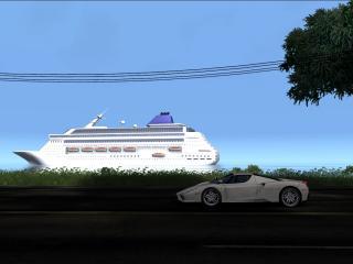 обои Белый ферари и корабль фото