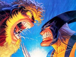 обои Wolverine vs sabretoothe фото