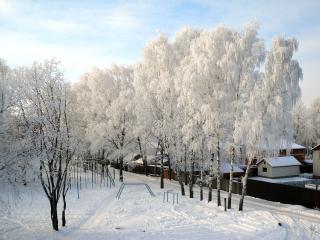 обои Вид из окна зимой фото