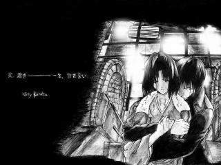 """обои Рёги Шики и Кокуто Микия из """"Границ Пустоты"""" фото"""