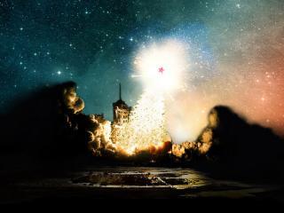 обои для рабочего стола: Запуск Русской Орбитальной Новогодней Ёлки (wide scr)