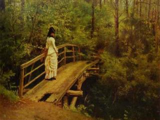 обои И. Репин - На мосту в Абрамцево фото