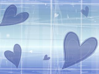 обои Синие сердца и кубики фото