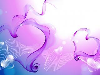 обои Два сердечка фиолетовых фото