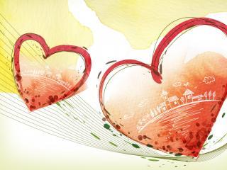 обои Красные сердечки с домиками фото