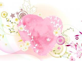 обои Сердечко с цветами фото